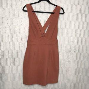 Forever 21 Dusty Rose Pink V Neck Overalls Dress